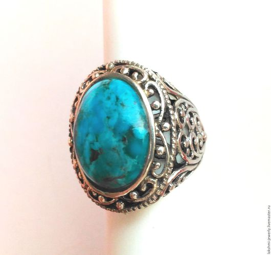 Кольца ручной работы. Ярмарка Мастеров - ручная работа. Купить Серебряное кольцо с натуральной бирюзой (Аризона). Handmade. Голубой, перстень