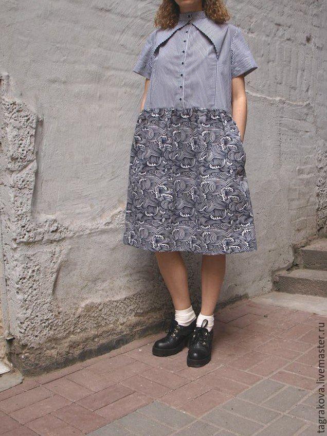 Платья ручной работы. Ярмарка Мастеров - ручная работа. Купить Платье Волна. Handmade. Платье, мода, волна, полосатая ткань