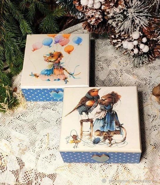 Коробочки  Мышки в голубом, Шкатулки, Москва,  Фото №1