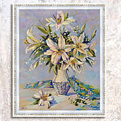 Картины и панно handmade. Livemaster - original item Painting with flowers white Lilies, a bouquet of flowers in a vase. Handmade.