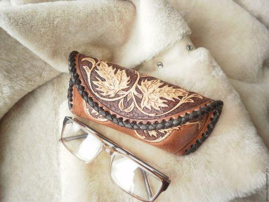 Футляры, очечники ручной работы. Ярмарка Мастеров - ручная работа. Купить футляр для очков из кожи очёчник кожаный ручной работы. Handmade.