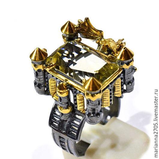 """Кольца ручной работы. Ярмарка Мастеров - ручная работа. Купить """"Dragon bridge"""" серебряное кольцо с цитрином в стиле ФЕНТЕЗИ. Handmade."""