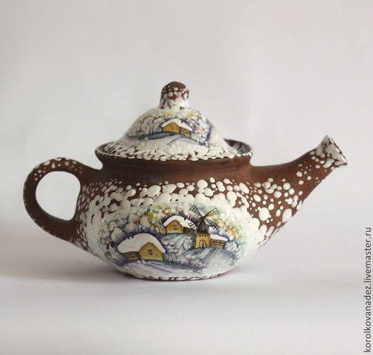 """Чайники, кофейники ручной работы. Ярмарка Мастеров - ручная работа. Купить Керамический заварочный чайник (майолика) """"Зимняя деревня"""". Handmade."""