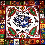 """Аксессуары ручной работы. Ярмарка Мастеров - ручная работа Шейный шелковый платок-батик """"Индейские мотивы"""". Handmade."""