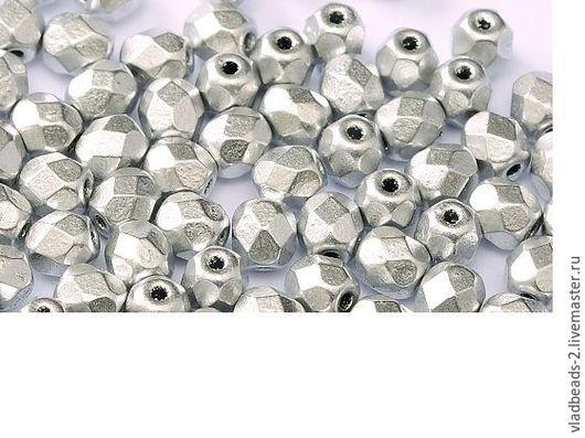 Для украшений ручной работы. Ярмарка Мастеров - ручная работа. Купить Бусины 3мм чешские стеклянные Aluminium Silver. Handmade.