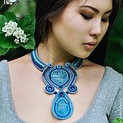 Украшения handmade. Livemaster - original item Beaded necklace gemstones Ocean blue massive stylish. Handmade.