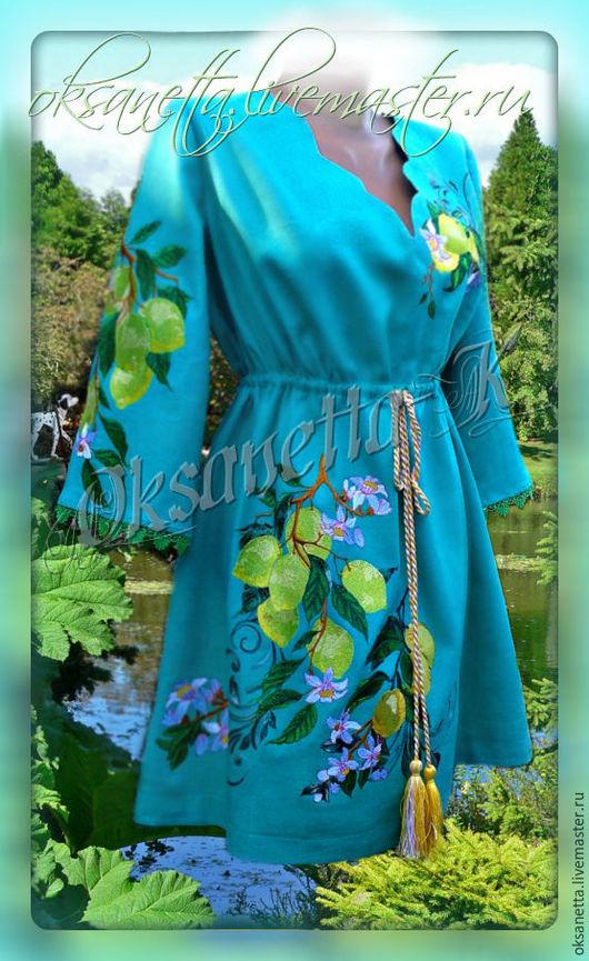 """Платья ручной работы. Ярмарка Мастеров - ручная работа. Купить Платье-туника """"Лимония"""". Handmade. Вышиванка, льняная одежда"""