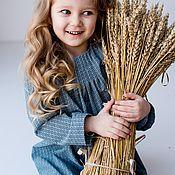 """Работы для детей, ручной работы. Ярмарка Мастеров - ручная работа """"Тёплая снежинка"""". Детское зимнее платье из хлопка, голубое в цветочек. Handmade."""