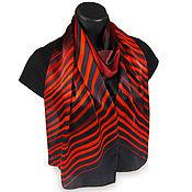 Аксессуары ручной работы. Ярмарка Мастеров - ручная работа Атласный шарф Красный Черный, натуральный шелк. Handmade.