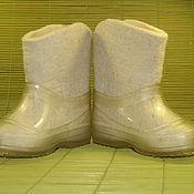Обувь ручной работы. Ярмарка Мастеров - ручная работа валеночки Белые. Handmade.