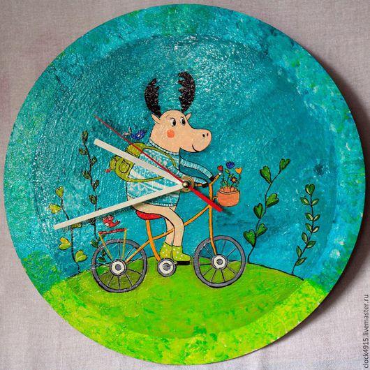 Часы для дома ручной работы. Ярмарка Мастеров - ручная работа. Купить Часы настенные с росписью. Handmade. Комбинированный, олень
