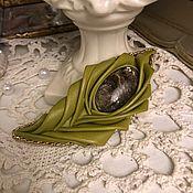 Украшения handmade. Livemaster - original item Feather brooch (leather, mica). Handmade.