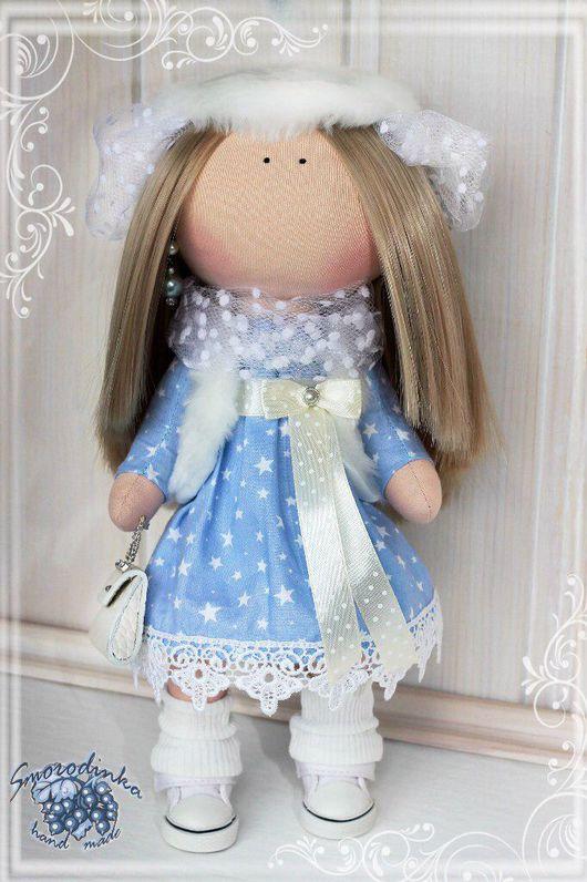 Куклы тыквоголовки ручной работы. Ярмарка Мастеров - ручная работа. Купить Кукла текстильная интерьерная Снежинка. Handmade. игрушки, сумочка