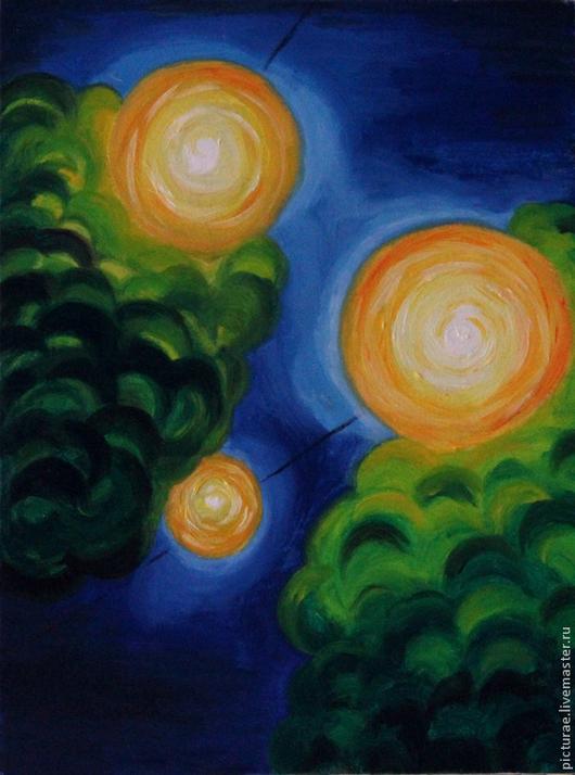 Пейзаж ручной работы. Ярмарка Мастеров - ручная работа. Купить Картина маслом на холсте Счастье. Handmade. Синий, картина синий