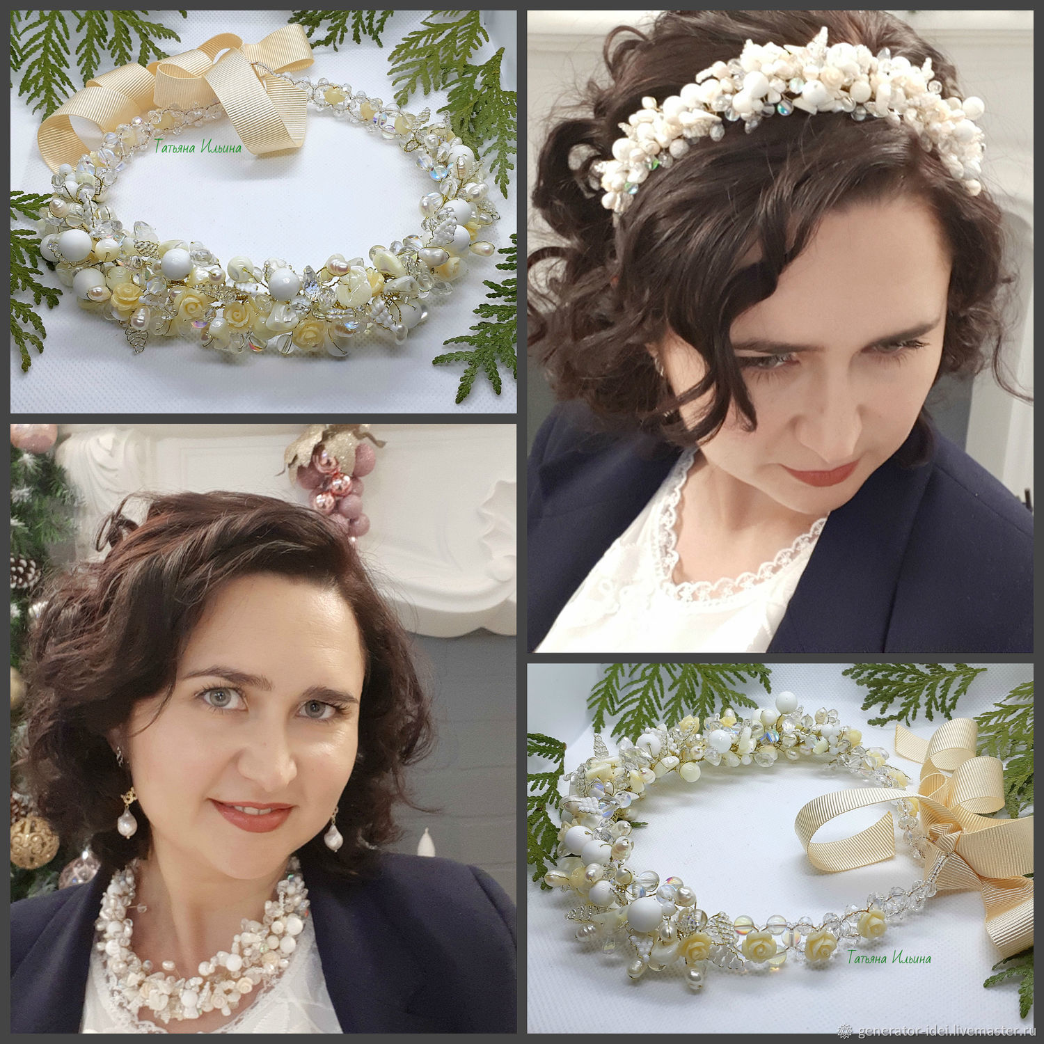 'Ivory ' Decoration on the neck and a wreath in the hairstyle 2 in 1, Necklace, Moscow,  Фото №1