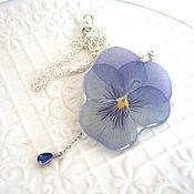 Украшения handmade. Livemaster - original item Pendant with A Real Flower Pansies Viola Jewelry Lilac. Handmade.