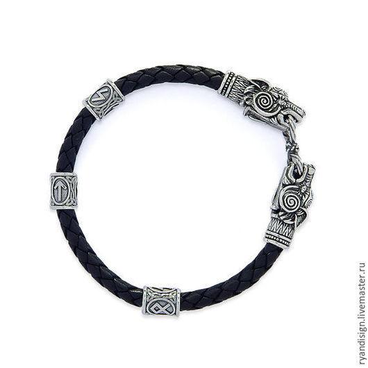 Кожаный Браслет  Волки  (мужской или женский) серебро, подарок