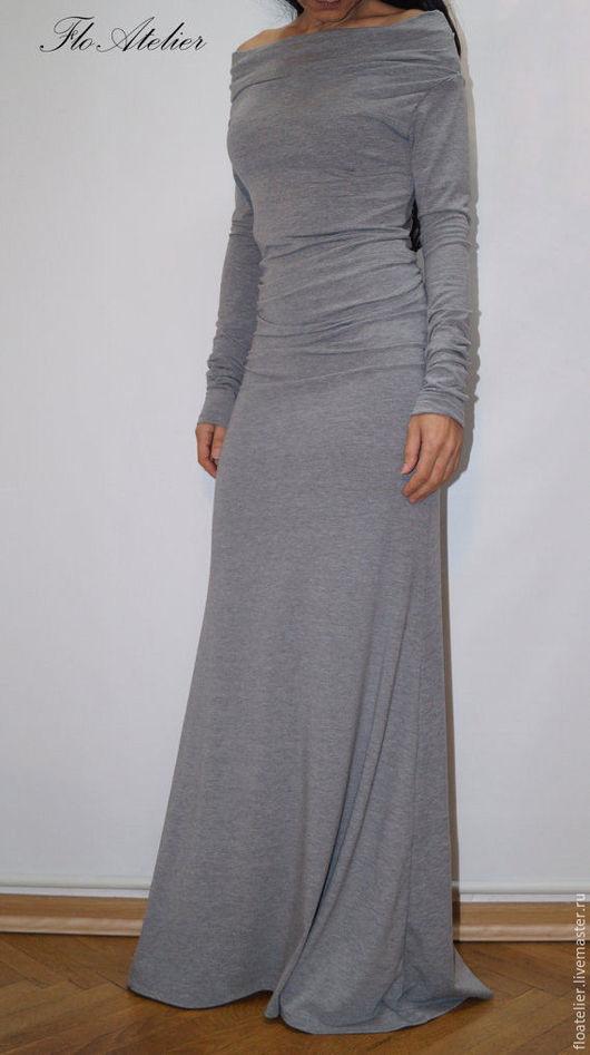 """Платья ручной работы. Ярмарка Мастеров - ручная работа. Купить Элегантное платье""""МAXI''/ Платье с открытыми плечами / F1297. Handmade."""