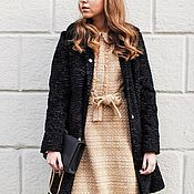 Одежда handmade. Livemaster - original item Winter coat made of eco fur under a black doodle. Handmade.