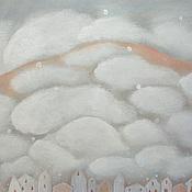 Картины и панно ручной работы. Ярмарка Мастеров - ручная работа Картина Много  облаков  пейзаж  акрил  дома горы. Handmade.