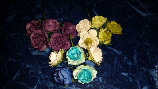 Открытки и скрапбукинг ручной работы. Ярмарка Мастеров - ручная работа. Купить 5 шт. Бумажные цветы 2,5 см. Handmade.