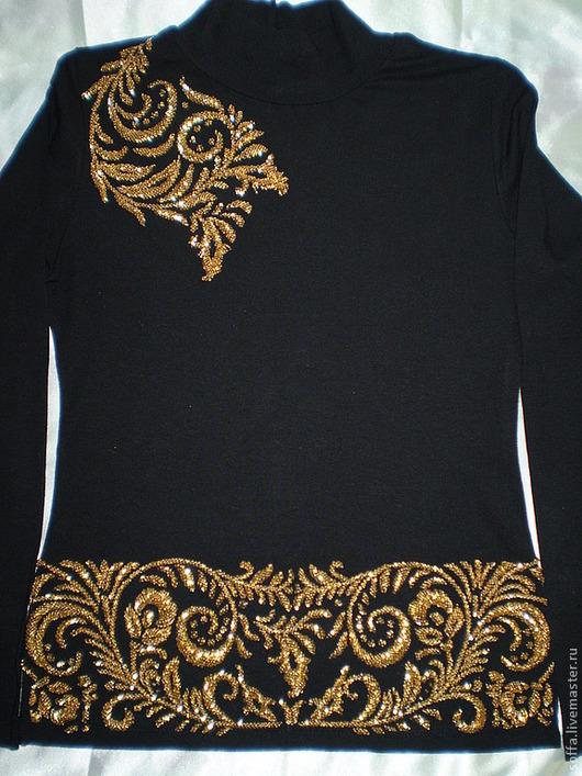 Кофты и свитера ручной работы. Ярмарка Мастеров - ручная работа. Купить Чёрная трикотажная водолазка вышивка  бисером ручной работы Хохлома. Handmade.