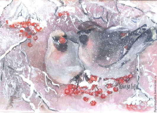 Зима, птицы на калине. Свиристели. Зимняя сказка. Зимний пейзаж. Авторский принт с акварели.Сказка в теплоте рук Коневой Алёны. Ярмарка мастеров