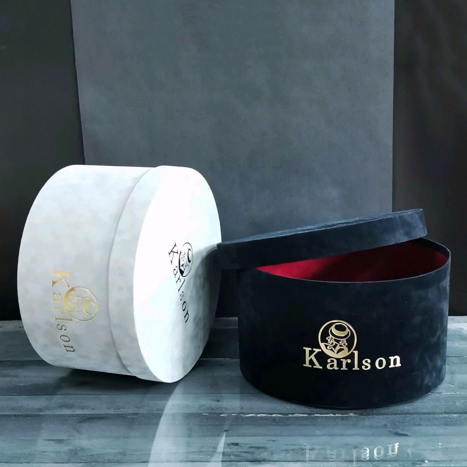 Hat box 40 / 20cm, round box, lid bottom box, velvet, Box1, Kirov,  Фото №1