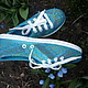 Sneakers felted 'turquoise India', Training shoes, Aleksin,  Фото №1
