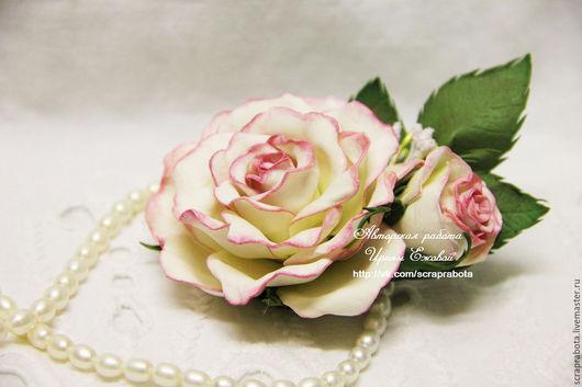 """Цветы ручной работы. Ярмарка Мастеров - ручная работа. Купить Брошь """"Роза с бутоном"""". Handmade. Бледно-розовый"""