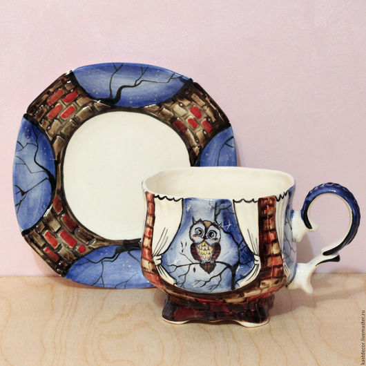 """Сервизы, чайные пары ручной работы. Ярмарка Мастеров - ручная работа. Купить Чайная фарфоровая пара """"Ночь.Маленькая совушка"""". Handmade."""