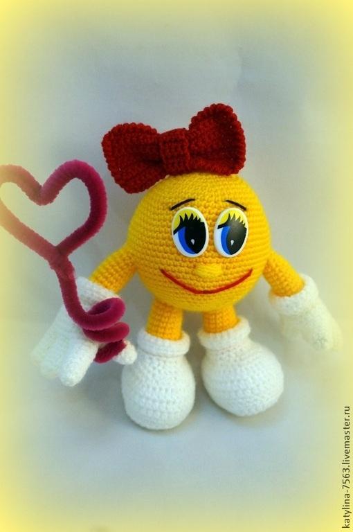 Подарки для влюбленных ручной работы. Ярмарка Мастеров - ручная работа. Купить Смайлик девочка. Handmade. Желтый, смайлик