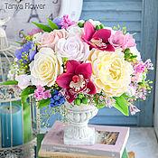 Композиции ручной работы. Ярмарка Мастеров - ручная работа Интерьерный букет с пионами, розами и орхидеями. Handmade.
