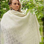 Шали ручной работы. Ярмарка Мастеров - ручная работа Пуховый платок белый шаль пуховая ручная работа. Handmade.