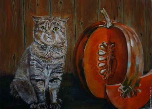 Животные ручной работы. Ярмарка Мастеров - ручная работа. Купить Картина Хозяин барин картина с котом тыква питомец британец 30 на 40см. Handmade.