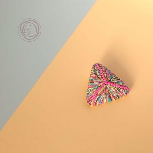 Броши ручной работы. Ярмарка Мастеров - ручная работа. Купить Авторская брошь Импрессио треугольная. Handmade. Gfart, импрессионизм