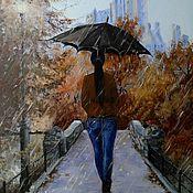 Картины и панно handmade. Livemaster - original item Pictures: Oil canvas painting Girl umbrella Park. Handmade.