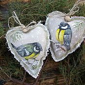 Подарки к праздникам handmade. Livemaster - original item Linen hearts with painting.. Titmouse.. Christmas gift.. Handmade.