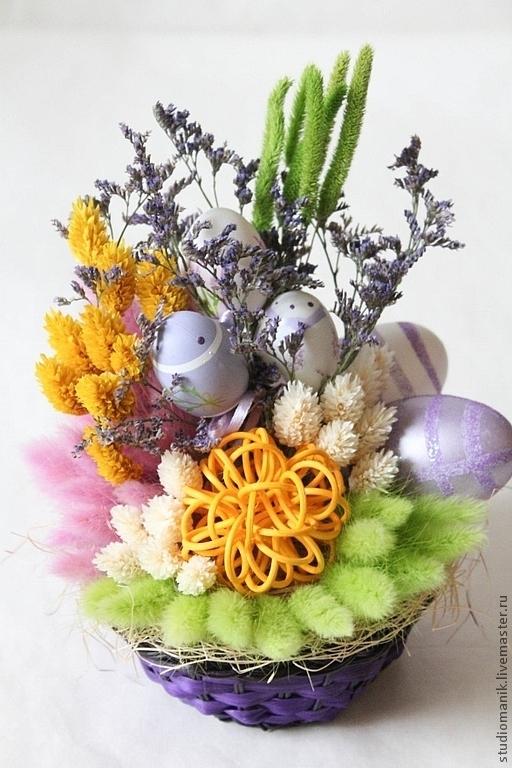 Интерьерные композиции ручной работы. Ярмарка Мастеров - ручная работа. Купить Композиция из сухоцветов -Пасха (3). Handmade. Сухоцветы, Пасха