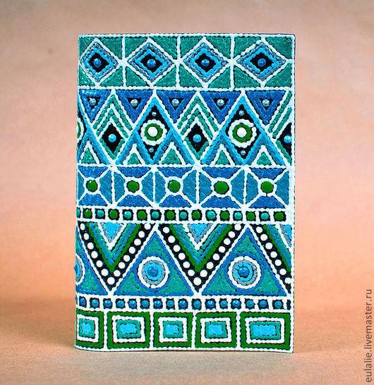 """Обложки ручной работы. Ярмарка Мастеров - ручная работа. Купить Обложка на паспорт или автодокументы  """"Мексика в синем"""". Handmade."""