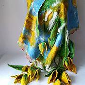 Аксессуары handmade. Livemaster - original item Felted women`s scarf Yellow tulips, size 38 h180 cm. Handmade.