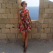 Одежда ручной работы. Ярмарка Мастеров - ручная работа Шелковое платье с цветочным принтом. Handmade.