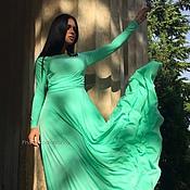 Одежда ручной работы. Ярмарка Мастеров - ручная работа Платье цвета тиффани со сборкой. Handmade.