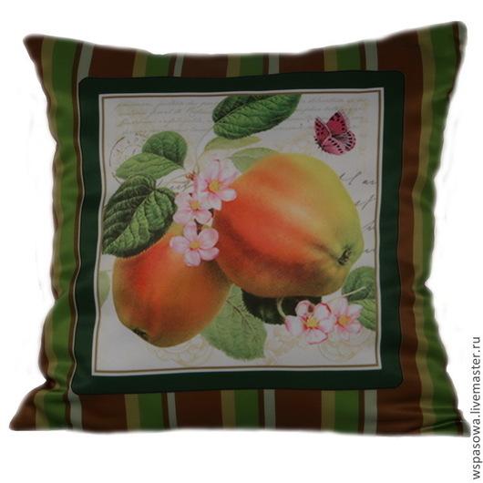 Текстиль, ковры ручной работы. Ярмарка Мастеров - ручная работа. Купить Подушечка Цветущяя яблоня. Handmade. Зеленый, в полоску