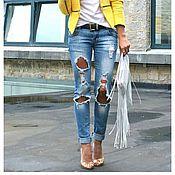 """Одежда ручной работы. Ярмарка Мастеров - ручная работа Рваные джинсы """"Classic Cloud"""". Handmade."""