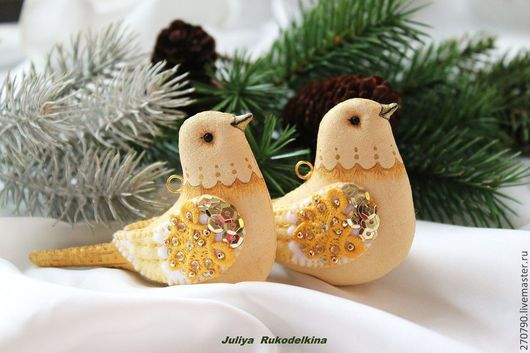 """Новый год 2017 ручной работы. Ярмарка Мастеров - ручная работа. Купить """"Птицы в зимнем саду"""" Набор 2 шт. Цвет золотисто-желтый.. Handmade."""