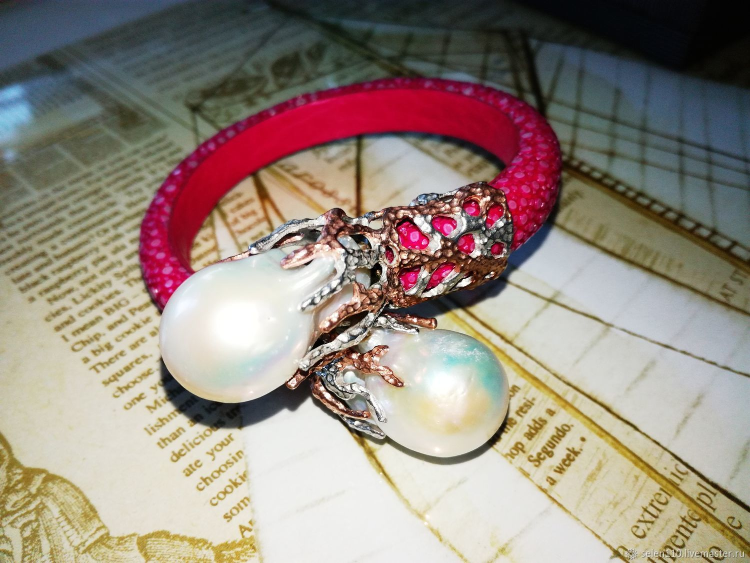 Bracelet 'Baroque Pearl' Stingray leather, silver, Baroque pearl, Bead bracelet, Voronezh,  Фото №1
