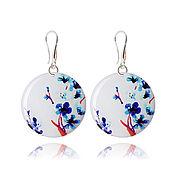 Украшения handmade. Livemaster - original item Round white and blue earrings as a gift to the girl