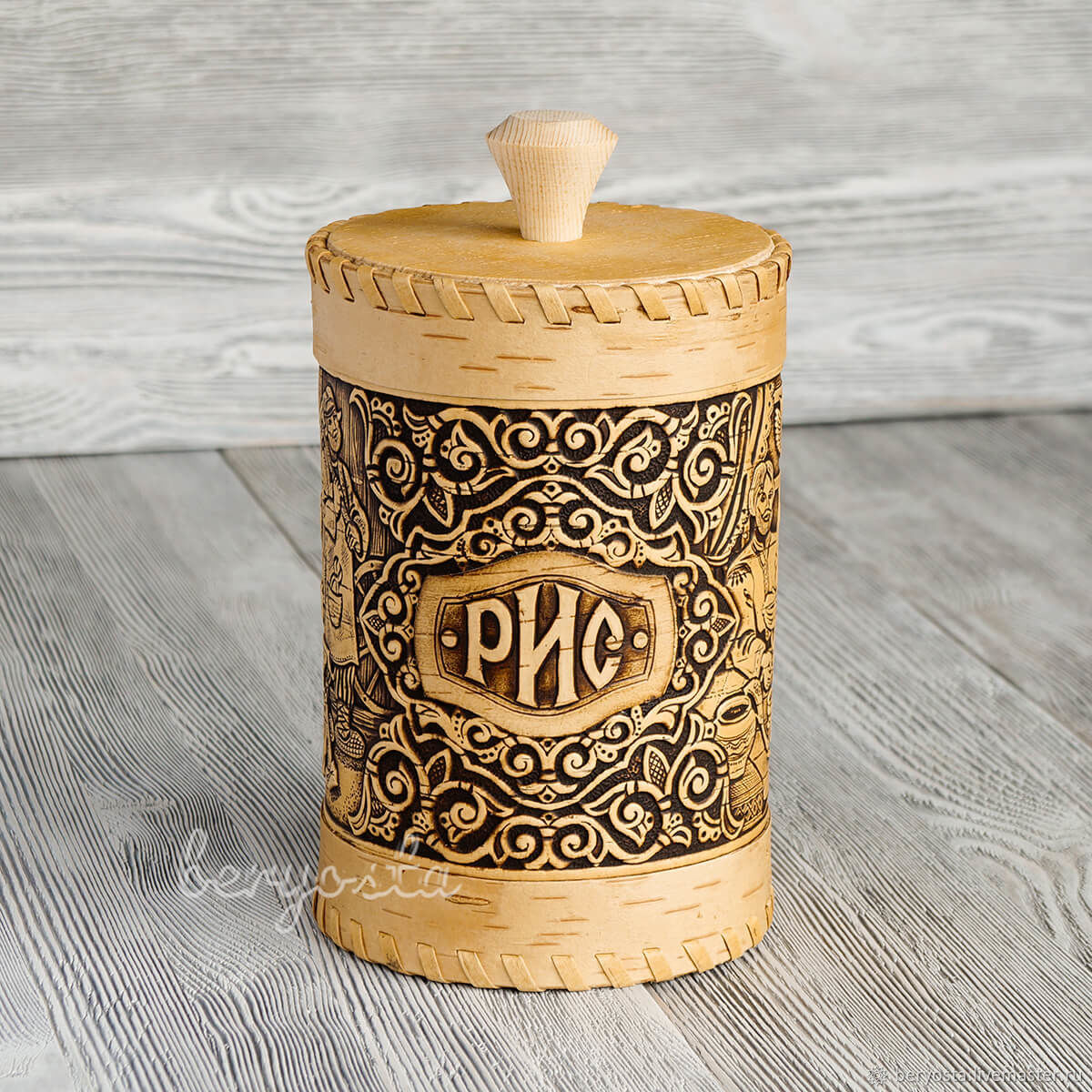 Box of birch bark for rice 'the Smiths'. The rustic kitchen, Ware in the Russian style, Novosibirsk,  Фото №1