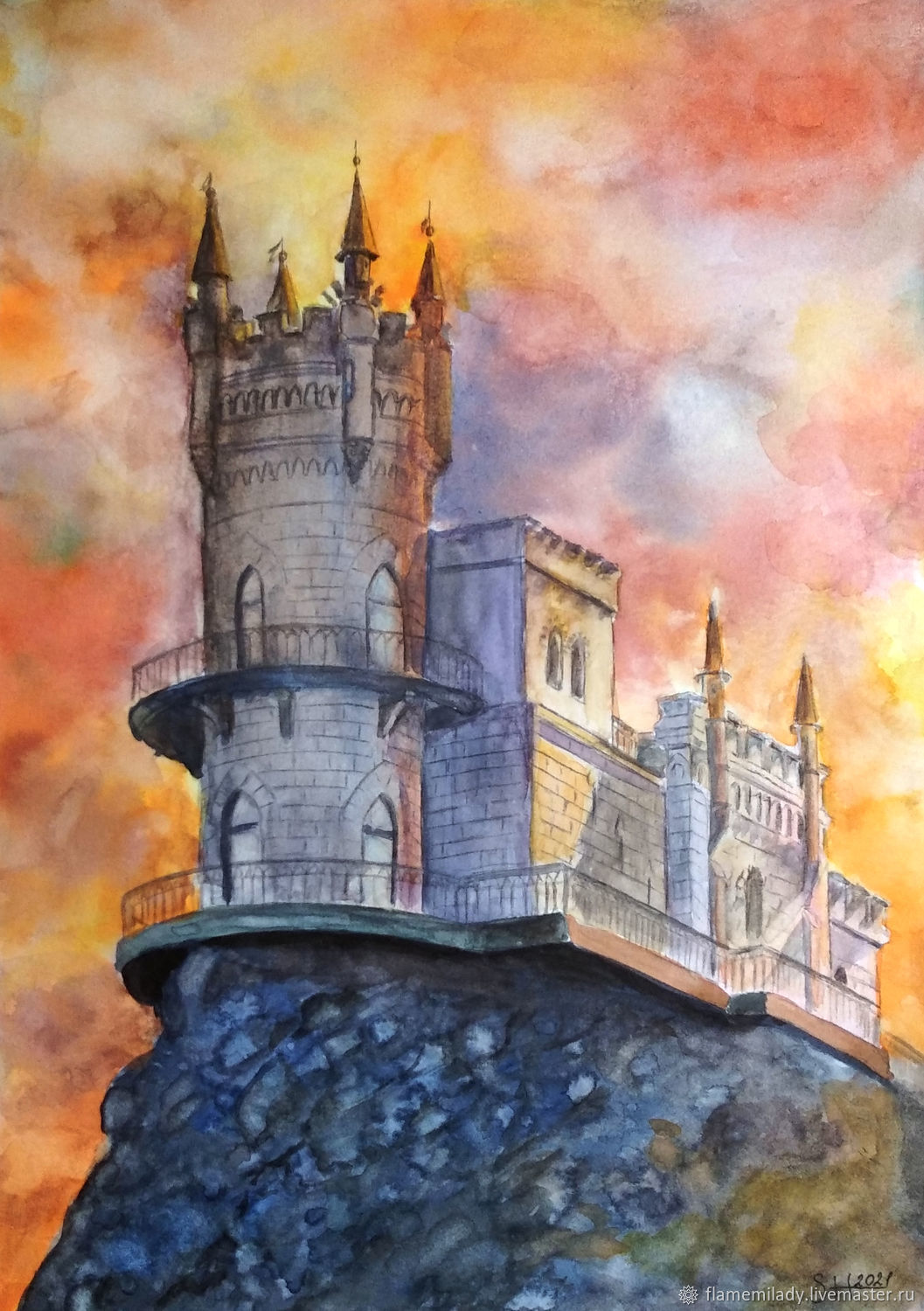 Painting, the swallow's nest painting watercolor, Pictures, Ekaterinburg,  Фото №1